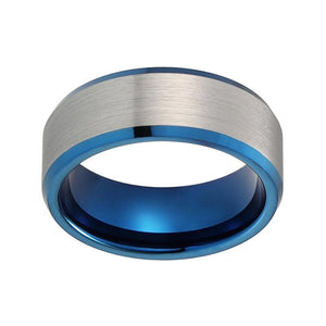 8mm Blue Inner with Silver Brushed Matte Blue Tungsten Carbide Ring - Innovato Store
