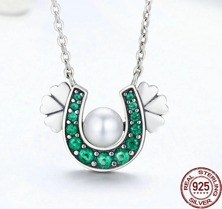 925 Sterling Silver Horseshoe Green Cubic Zirconia Pendant Necklace