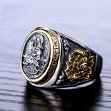 925 Sterling Silver Buddhism Goddess with Dragon Ring Men's Jewelry - Innovato Store