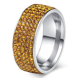 8mm Silver Accented 5 Rows Crystal Stainless Steel Unisex Wedding Band - Innovato Store