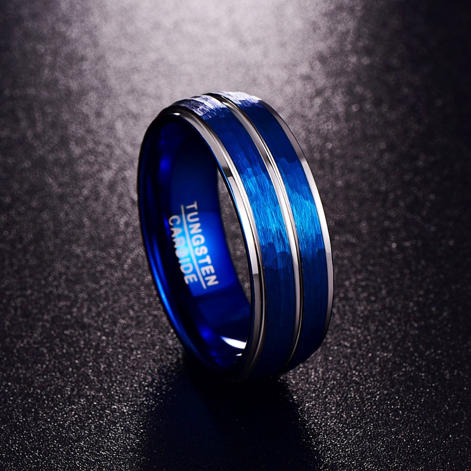 8mm Blue Brushed Matte Tungsten Carbide with Silver Insert Wedding Ring - Innovato Store