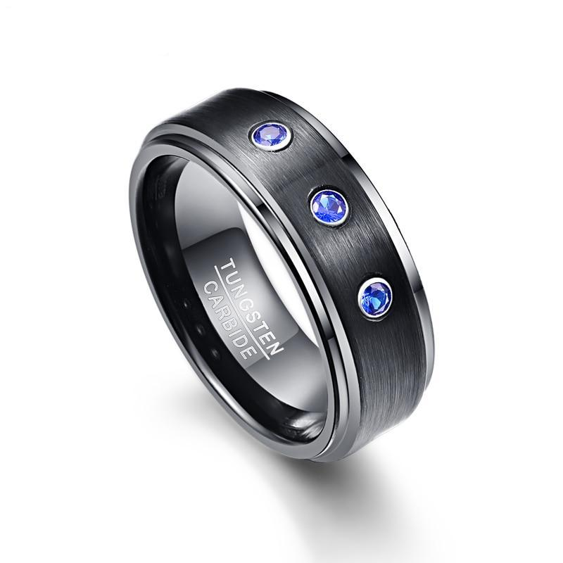 8mm Black Polished Tungsten Carbide Ring with Three CZ Stones - Innovato Store
