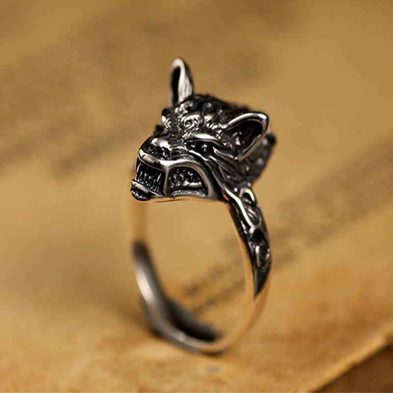 925 Sterling Silver Retro Black Wolf Gothic Rings - Innovato Store