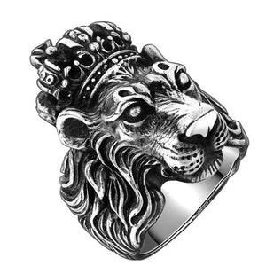 King Lion Silver Plated Ring with Crown for Men Vintage Biker Ring - Innovato Store