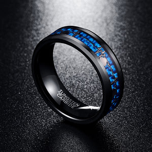 Tungsten Wedding Band with Silver Plated Heartbeat Pattern on Blue Carbon Fiber Inlay