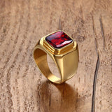 Gold Stainless Steel Big Ring with a Large Red Cubic Zirconia Ring - Innovato Store