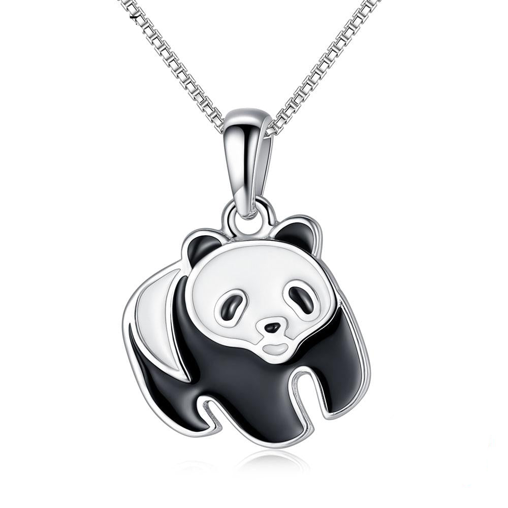 925 Sterling Silver with Black and White Panda Pendant Necklace Women's Jewelry