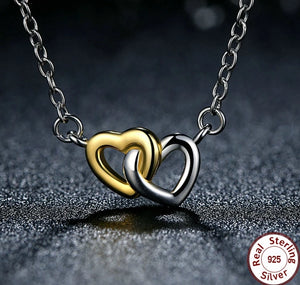 925 Sterling Silver Gold and Silver Connected Hearts Pendant Necklace