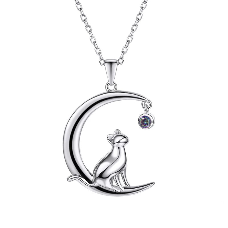 925 Sterling Silver Cat on Crescent Moon Rainbow Topaz Pendant Necklace