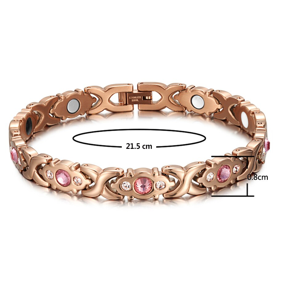 Rose Gold Magnetic Bracelet for Ladies with Pink & Clear Zirconia