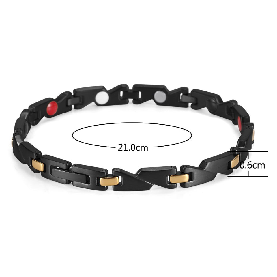 Black Magnetic Bracelet with Gold Links