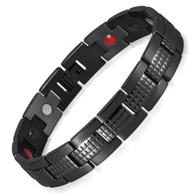 Black Stainless Steel Magnetic Bracelet for Men