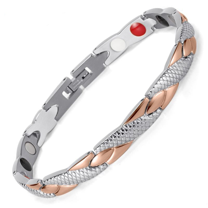 Rose Gold & Silver Magnetic Bracelet with FIR and Germanium