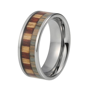 8mm Zebra Pattern Wood Inlay with Silver Plated Tungsten Carbide Ring