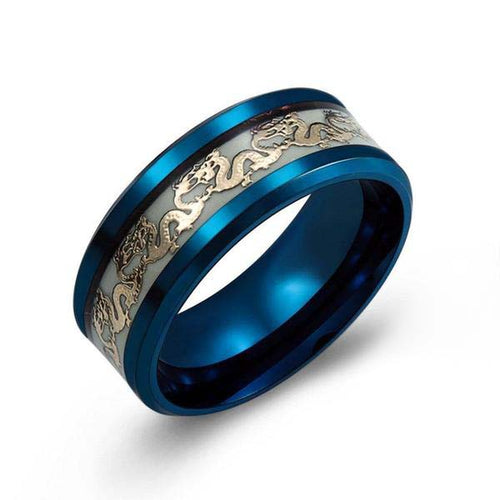 Luminous Dragon Inlay Black and Blue Stainless Steel Ring