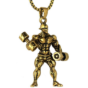 Dumbbell Pendant Necklace Fitness Sports Jewelry