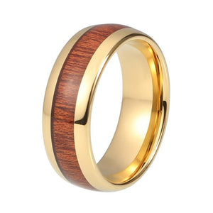 Gold Plated Tungsten Carbide Wedding Band Ring with Santos Rosewood Natural Wood Inlay