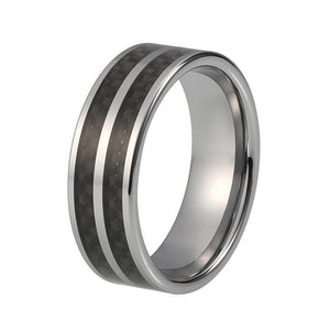 8mm Black Polished Basket Weave Wooden Inlay with Silver-Tungsten Carbide Wedding Ring