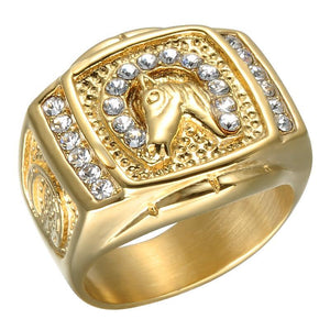 Hip Hop Horse Gold Plated Ring for Men with 12 Gemstones