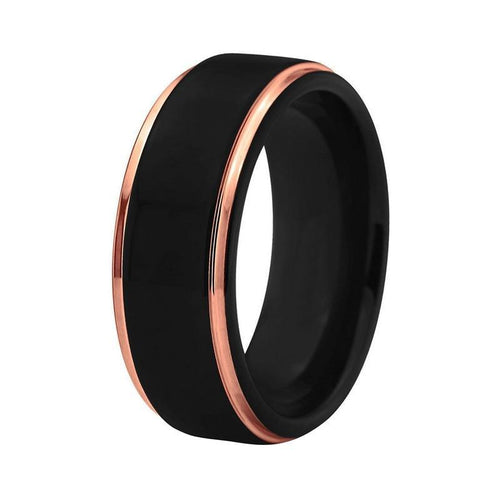 Elegant Black Tungsten Carbide Brushed Center with Rose Color Gold Coated Edges Wedding Ring - Innovato Store