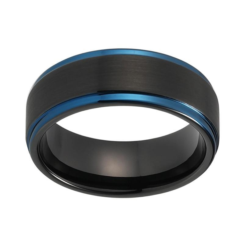 Black Tungsten Carbide Brushed Matte Finish with Blue Plated Tungsten Wedding Band