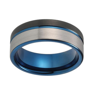8mm Black and Blue Tungsten Metal with Brushed Matte Design Wedding Ring - Innovato Store