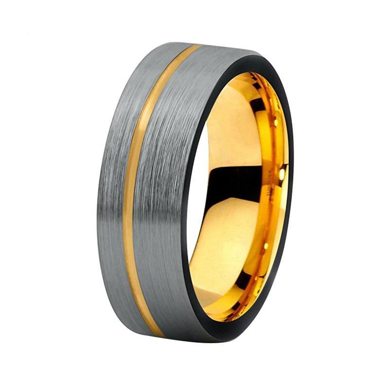 8mm Offset Black Brushed Matte & Yellow Gold Coated Tungsten Carbide Surface