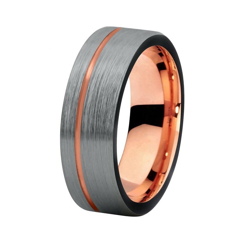 Offset Brushed Matte Silver Coated Black Tungsten Carbide with Rose Gold Tone - Innovato Store