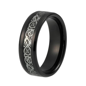 8mm Men's Silver Dragon Inlay on Black Carbon Fiber Tungsten Carbide Ring