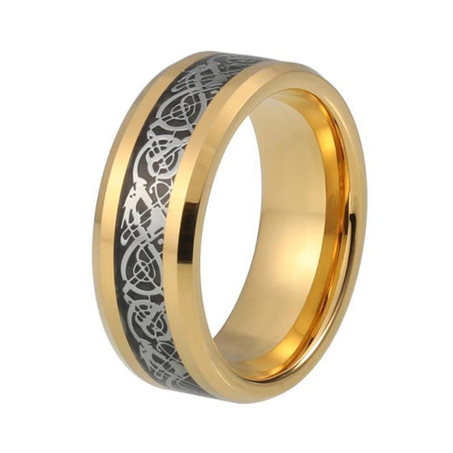 Gold Plated with Silver Dragon Design over Black Carbon Fiber Wedding Band