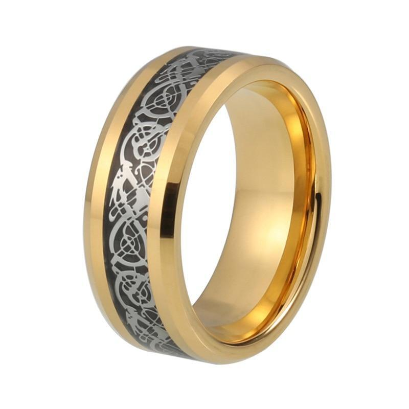 Gold Plated with Silver Dragon Design over Black Carbon Fiber Wedding Band - Innovato Store