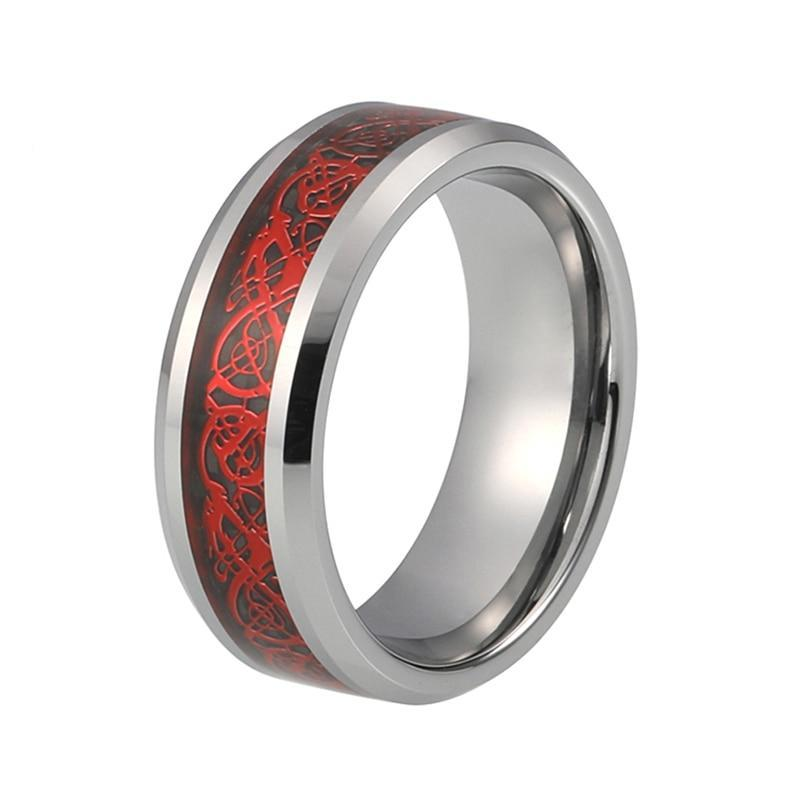 Silver Tone Tungsten Carbide Band, Red Dragon Celtic Pattern over Black Carbon Fiber Inlay