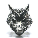 316L Stainless Steel Gothic Wild Boar Silver Ring for Men