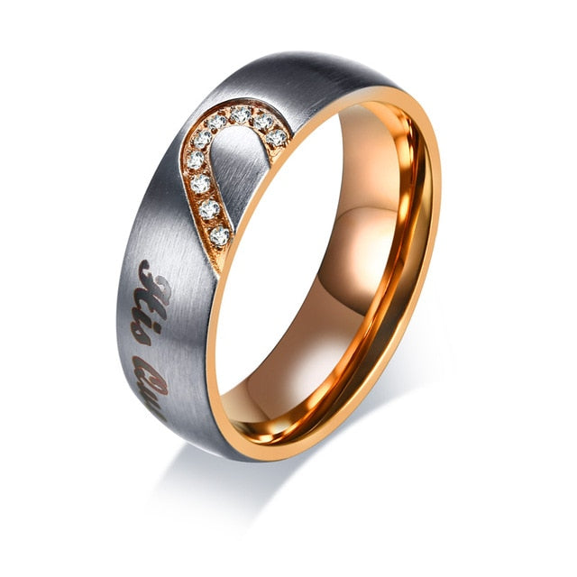 His Queen & Her King Tungsten Couple Wedding / Engagement Ring with CZ Stones - Innovato Store