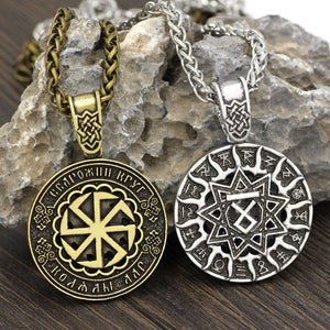 Men's Pagan Sun Wheel and Kolovrat Symbol Pendant Necklace