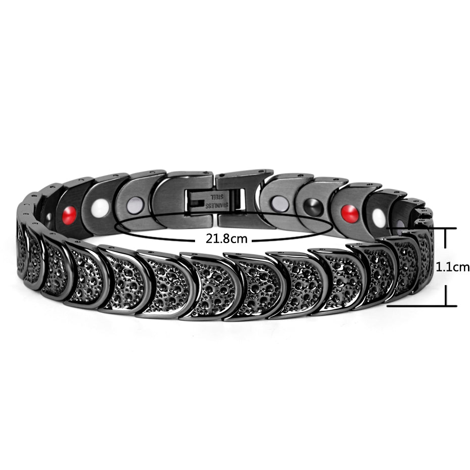 Black 4 Element Magnetic Bracelet with Germanim and FIR