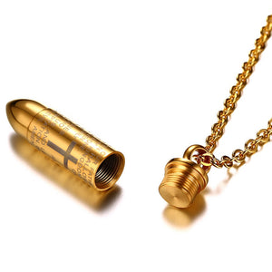 Golden Bullet Engraved Cross Ash Urn Pendant Memorial Necklace
