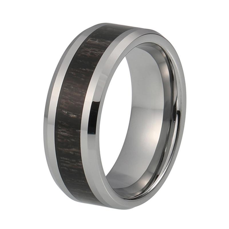 Silver Coated Tungsten Carbide with Dark Polished Koa Wood Inlay Wedding Band