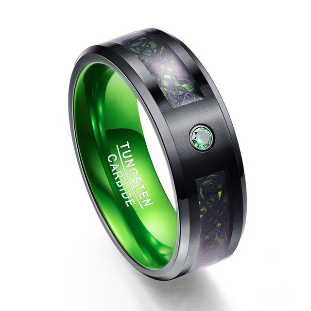 Green Dragon Inlay Tungsten Carbide Wedding Band with Green Zircon Stone - Innovato Store
