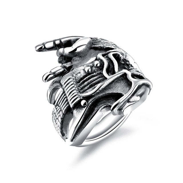 Rock Music Ring with Victory Gesture and Guitar for Men