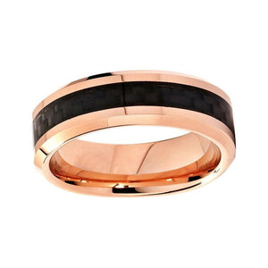 6mm Rose Color Plated Tungsten Carbide with Black Pattern Inlay Wedding Ring - Innovato Store