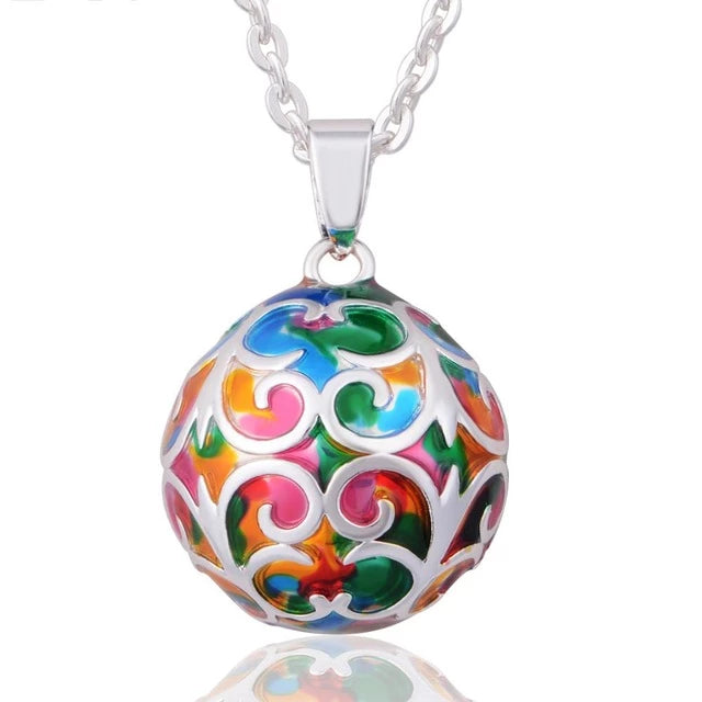 Multicolor Pregnancy Chime Ball Pendant Necklace