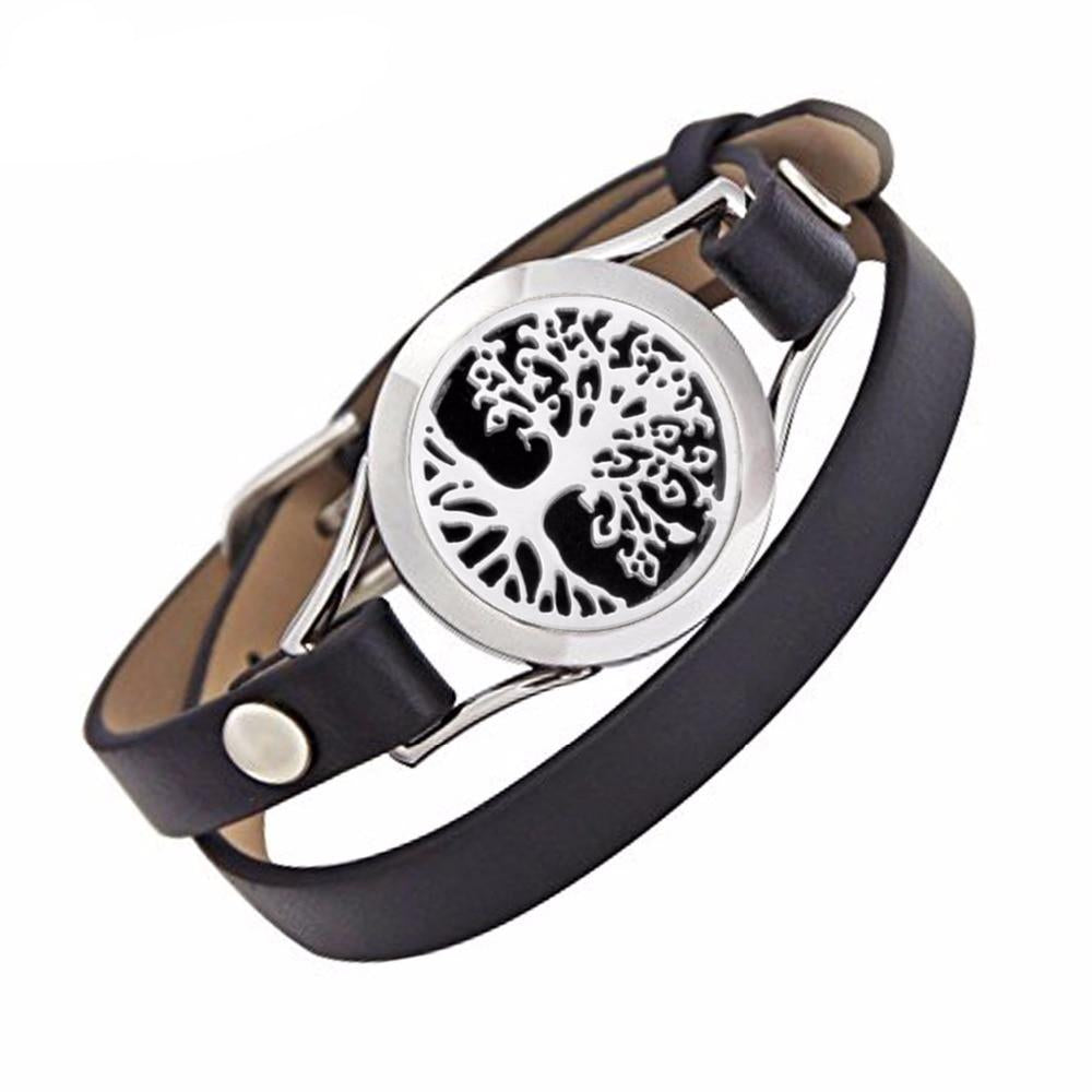 Genuine Leather Tree of Life Aromatherapy Locket Bracelet