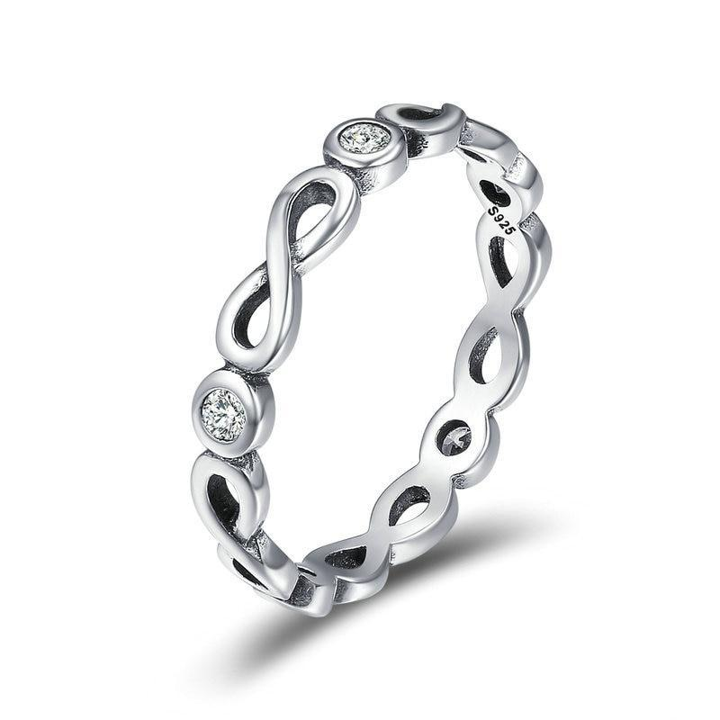 925 Sterling Silver Ring for Woman with Infinity Symbol Design and Round 5 pieces of Clear Zircons - Innovato Store