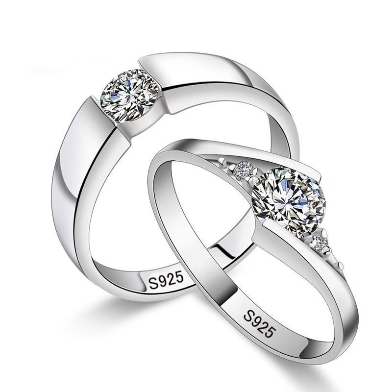 925 Silver Thin Eternal Love Unisex Engagement Wedding Ring Set with Clear Cubic Zirconia Crystals - Innovato Store