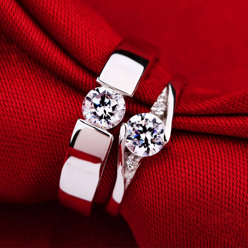 925 Silver Thin Eternal Love Unisex Engagement Wedding Ring Set with Clear Cubic Zirconia Crystals