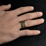 Gold and Silver Double-headed Ravens Odin Ring