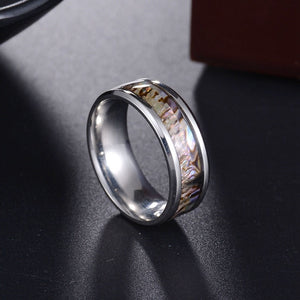 8mm Colorful Wood Grain Silver Plated Ring for Men - Innovato Store
