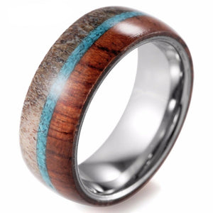 Tungsten Silver Toned Comfortable 8mm Ring for Men with Shiny inside and Wild Antler and Wood Inlay