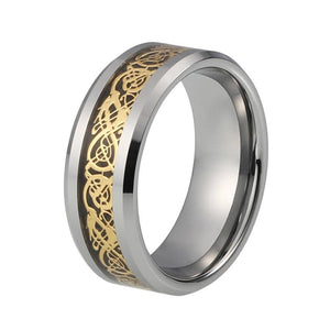 8mm Unisex Gold-Tone Celtic Dragon Pattern over Black Carbon Fiber Inlay Wedding Band - Innovato Store